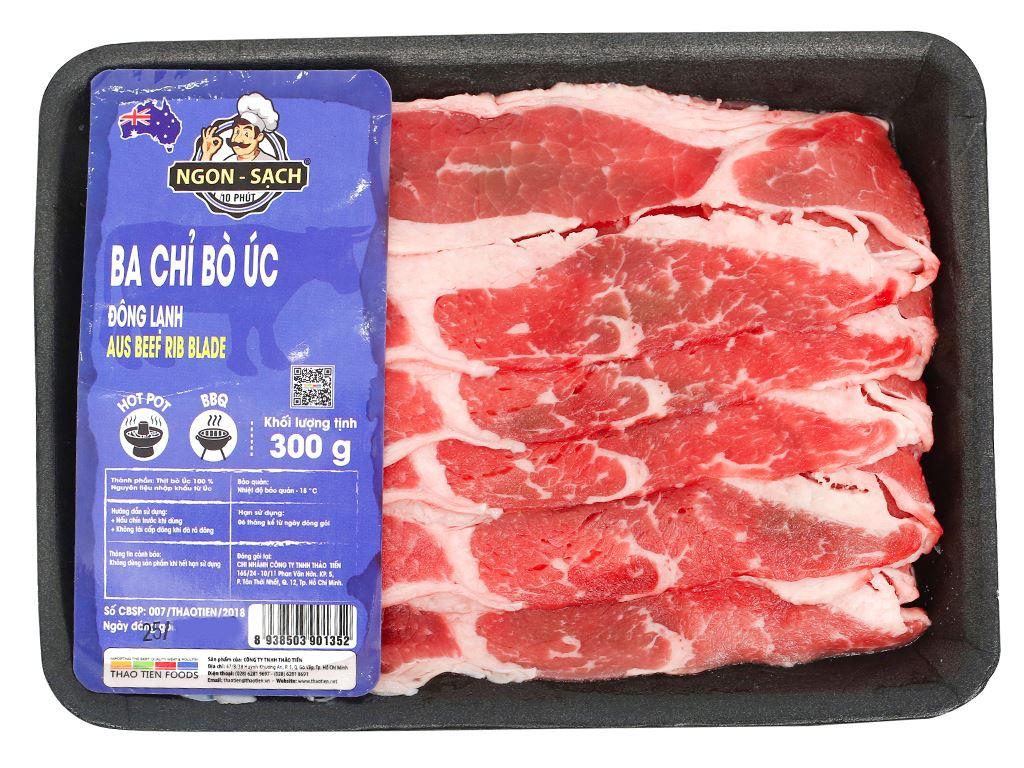 Ba chỉ bò Úc đông lạnh Thảo Tiến Foods khay 300g 3