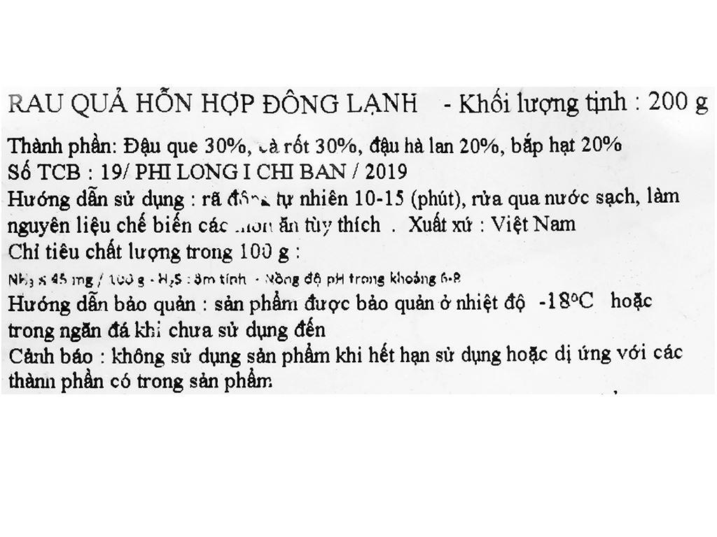 Rau quả hỗn hợp đông lạnh Phi Long gói 200g 3