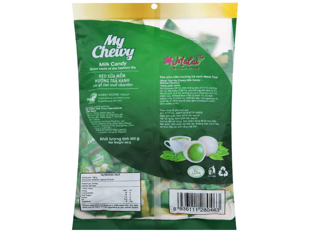 Kẹo sữa mềm vị trà xanh Malai Thai gói 360g 2