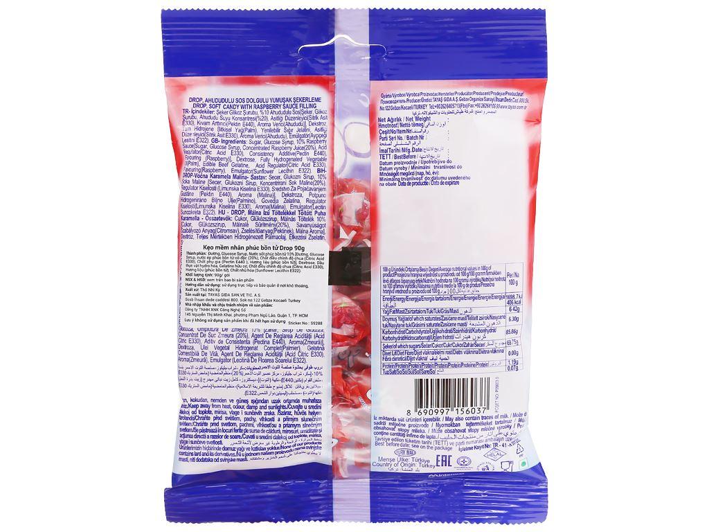 Kẹo mềm nhân phúc bồn tử Drop gói 90g 2