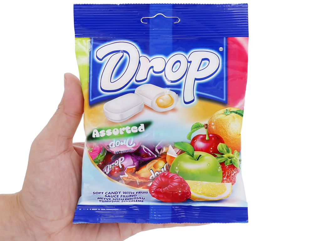 Kẹo mềm nhân trái cây hỗn hợp Drop gói 90g 5