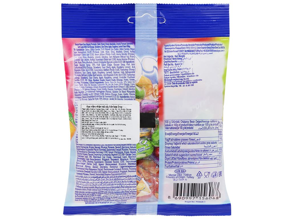 Kẹo mềm nhân trái cây hỗn hợp Drop gói 500g 2