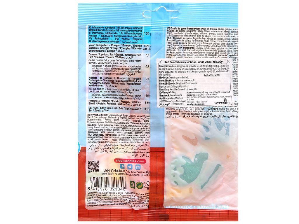 Kẹo dẻo chữ cái và số Vidal gói 100g 2