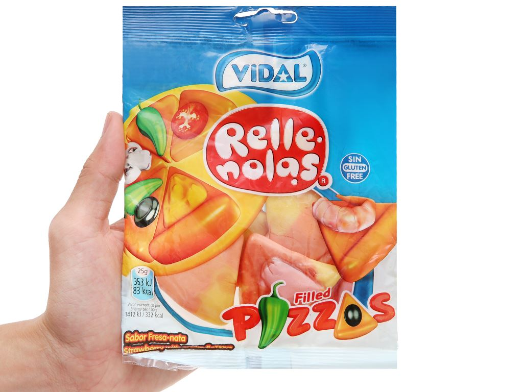 Kẹo dẻo hình miếng pizza nhân thạch Vidal gói 100g 4