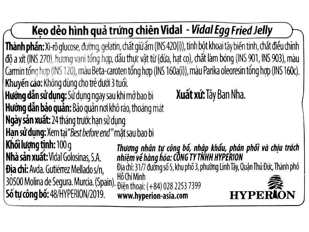 Kẹo dẻo hình quả trứng chiên Vidal gói 100g 3