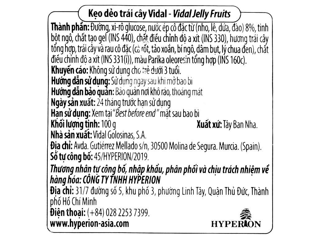 Kẹo dẻo trái cây Vidal gói 100g 3