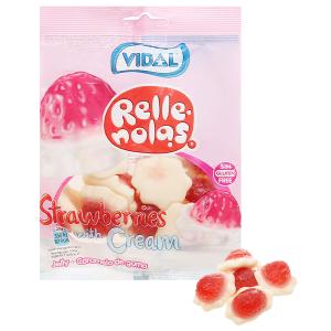 Kẹo dẻo hương dâu và kem nhân thạch Vidal gói 100g