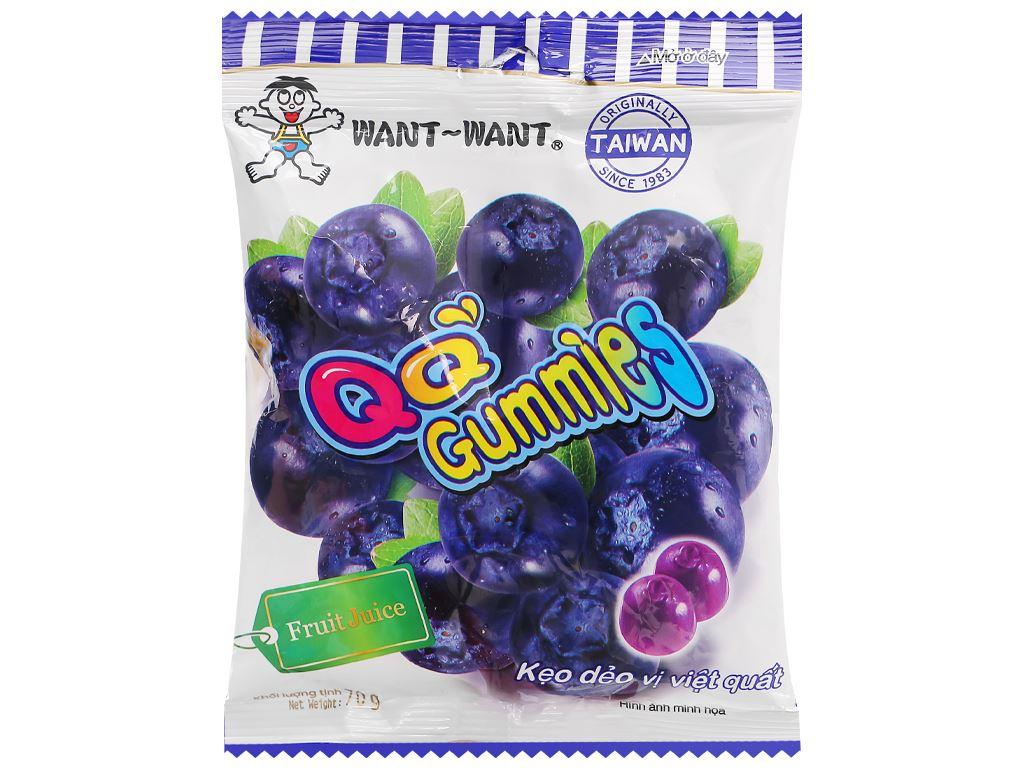 Kẹo dẻo vị việt quất Want Want QQ Gummies gói 70g 1