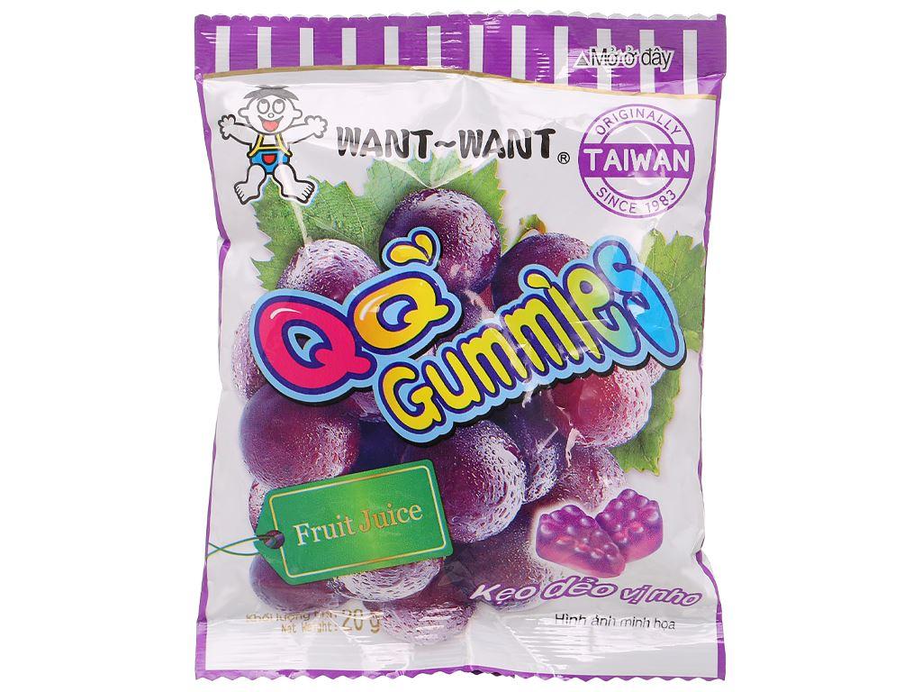 Kẹo dẻo vị nho Want Want QQ Gummies gói 20g 1