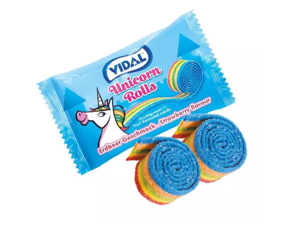 Kẹo dẻo cuộn Vidal Unicorn Rolls gói 19g 1