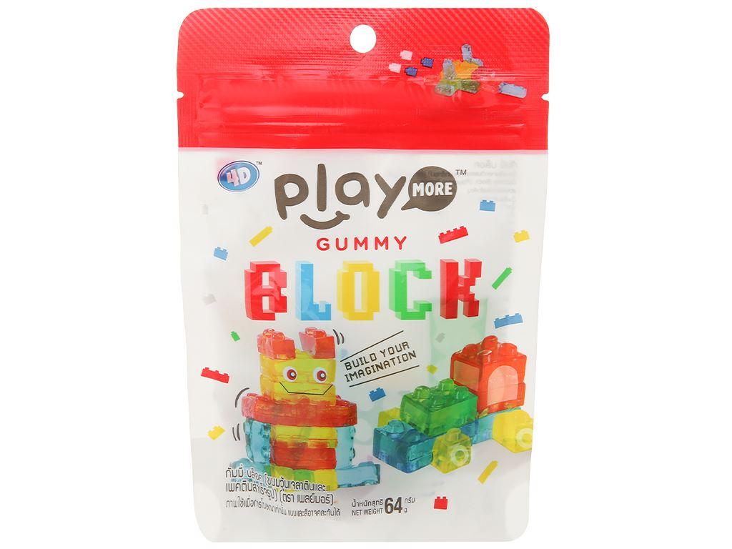 Kẹo dẻo xếp hình Play More Gummy Block gói 64g 1