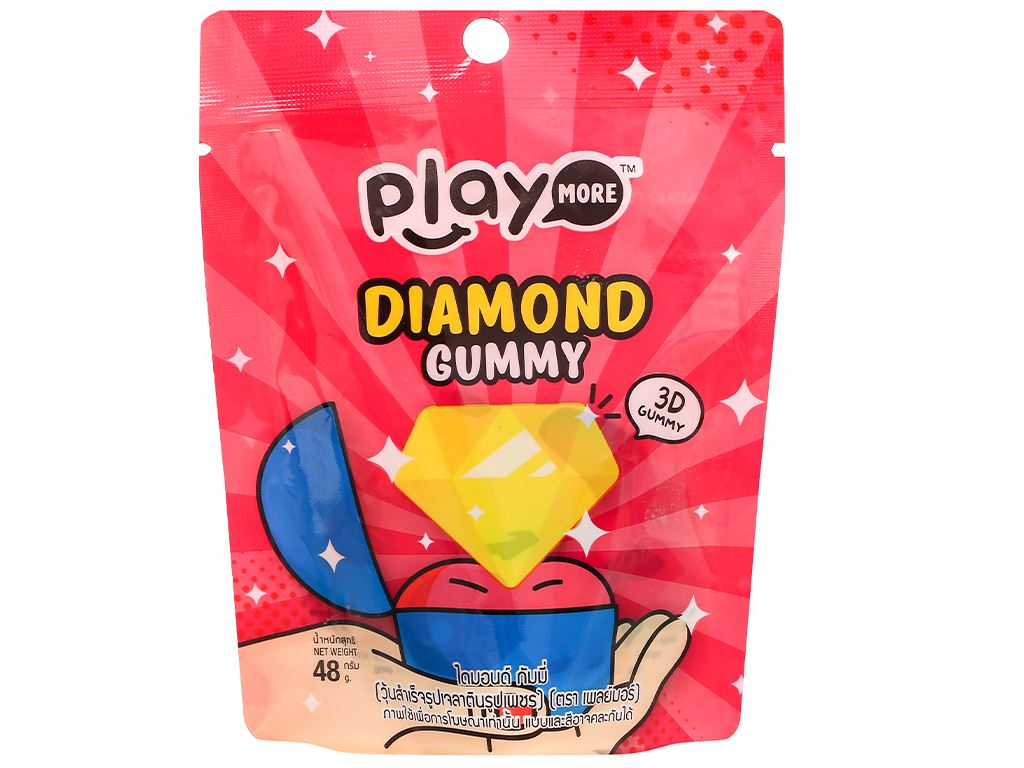 Kẹo dẻo hình kim cương Play More Diamond Gummy gói 48g 1