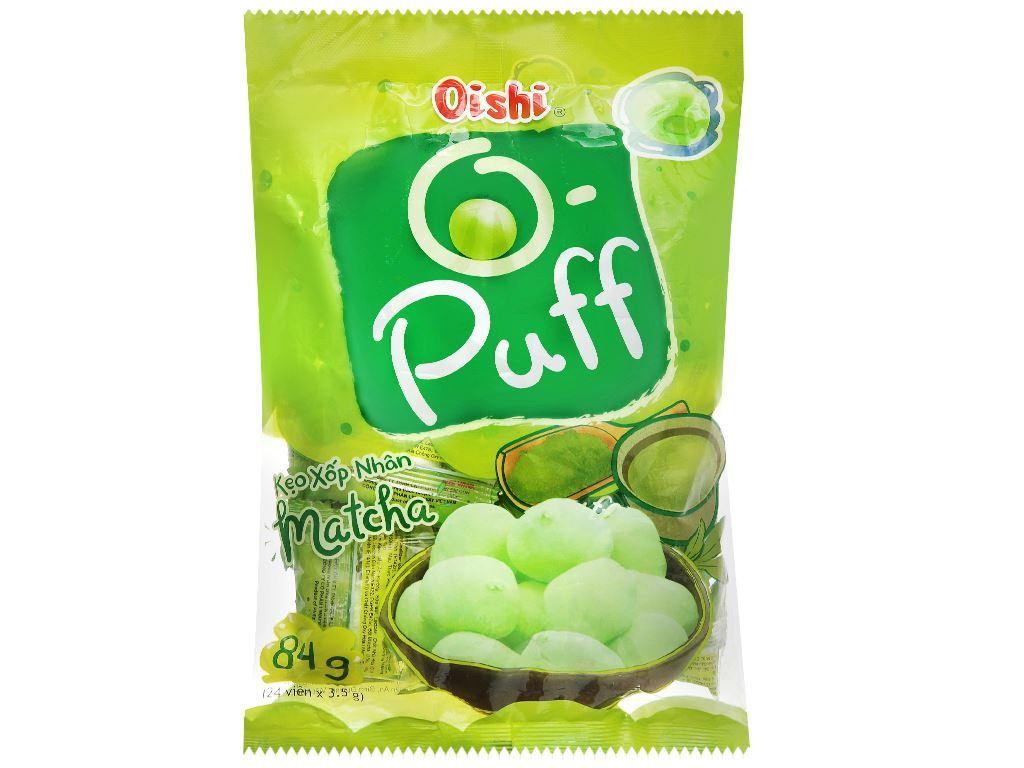 Kẹo xốp nhân matcha Oishi Puff gói 84g 1