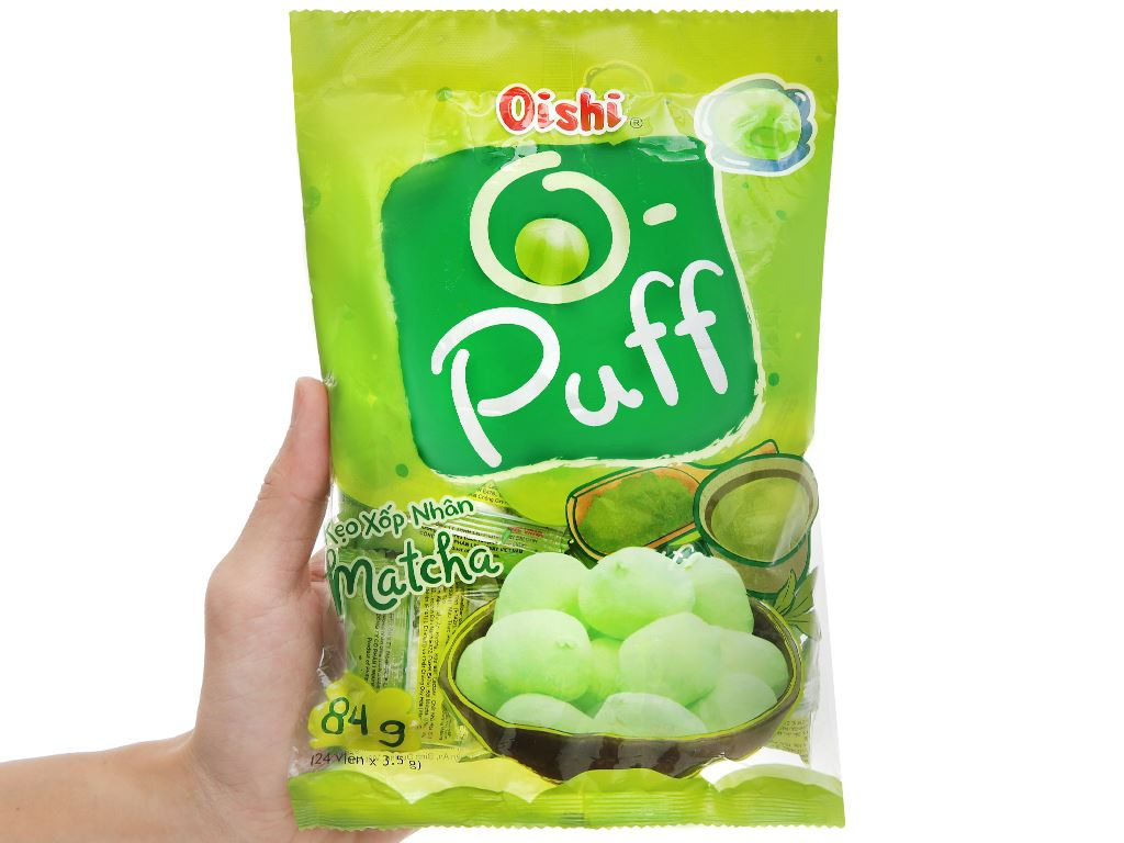 Kẹo xốp nhân matcha Oishi Puff gói 84g 5
