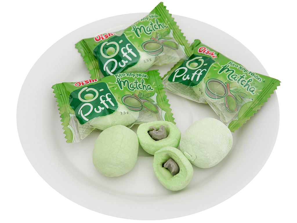 Kẹo xốp nhân matcha Oishi Puff gói 84g 6