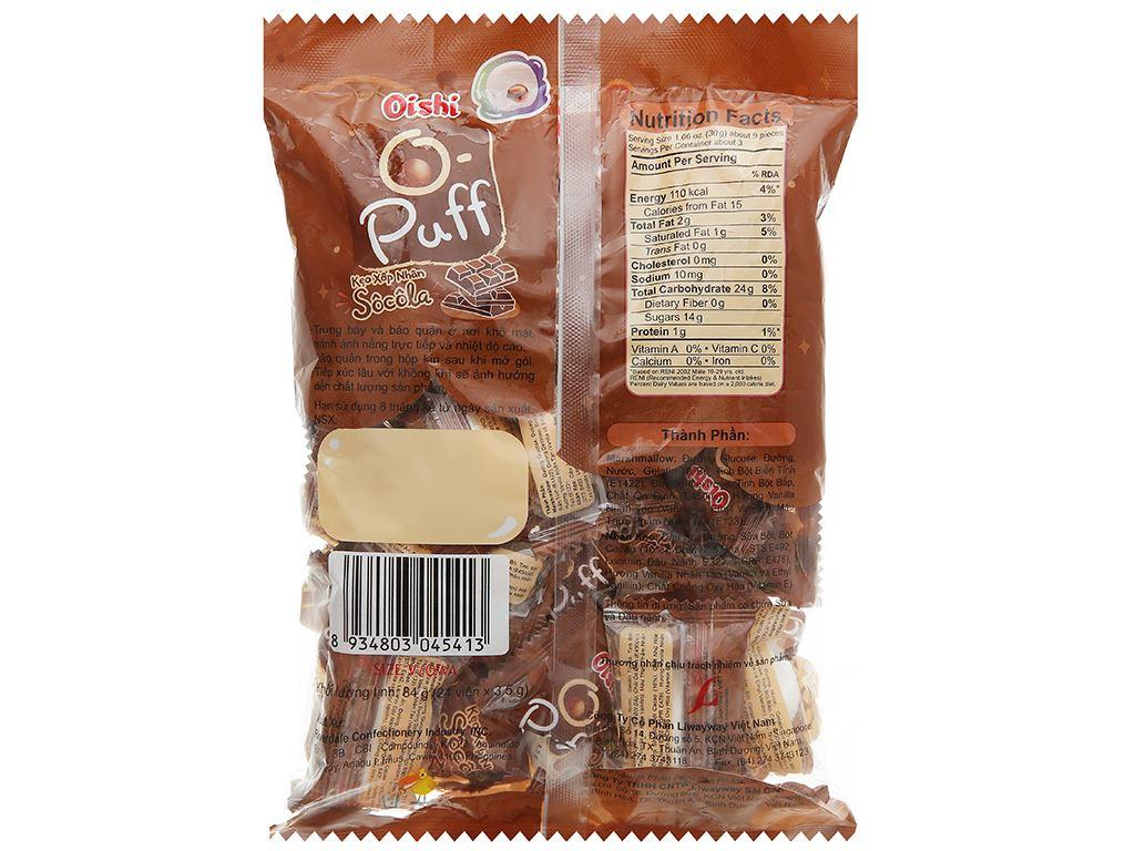 Kẹo xốp nhân socola Oishi Puff gói 84g 2