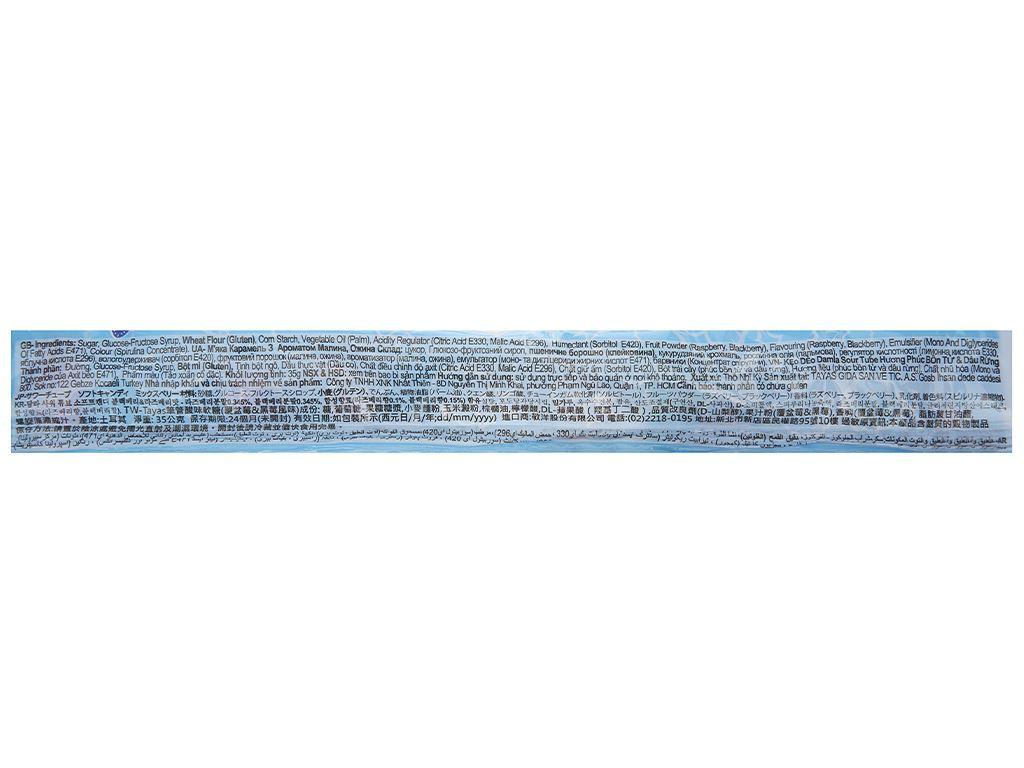 Kẹo dẻo hương phúc bồn tử và dâu rừng Damla Sour Tubes gói 35g 4