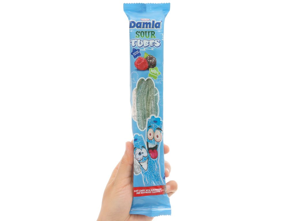Kẹo dẻo hương phúc bồn tử và dâu rừng Damla Sour Tubes gói 35g 5
