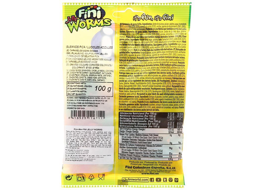 Kẹo dẻo Fini Jelly Worms gói 100g 2