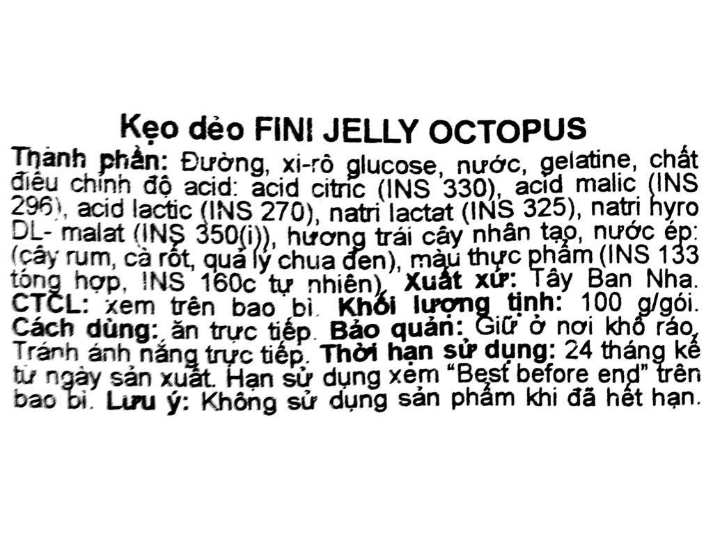 Kẹo dẻo Fini Jelly Octopus gói 100g 3
