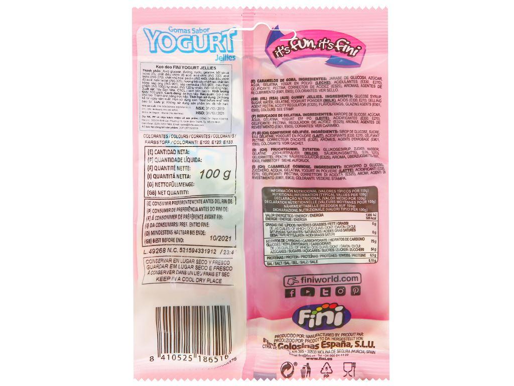 Kẹo dẻo Fini Yogurt Jellies gói 100g 2