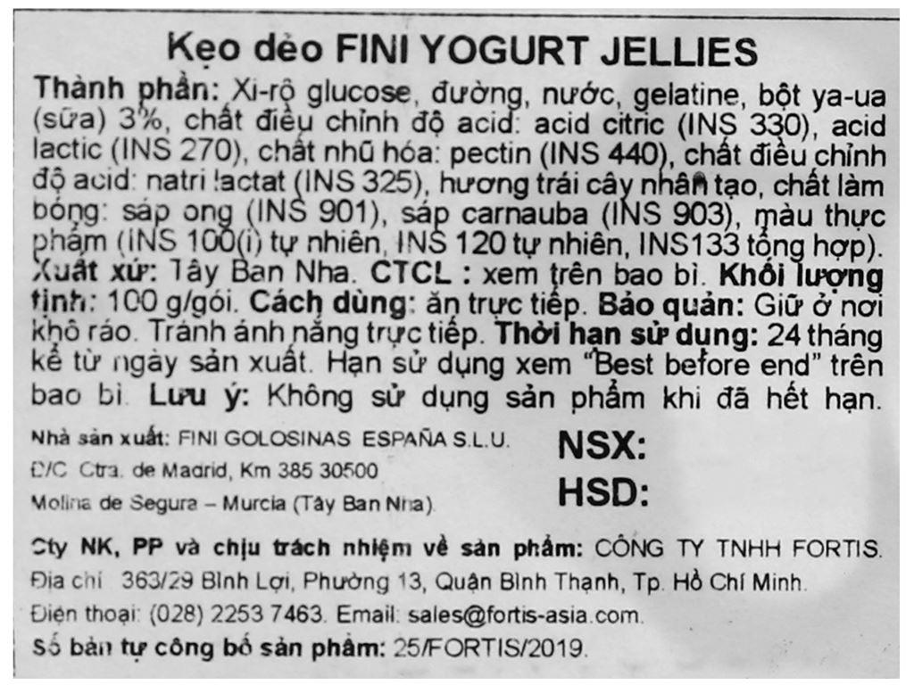 Kẹo dẻo Fini Yogurt Jellies gói 100g 3
