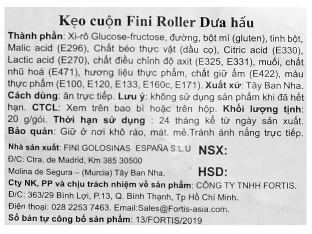 Kẹo cuộn Fini Roller dưa hấu gói 20g 3