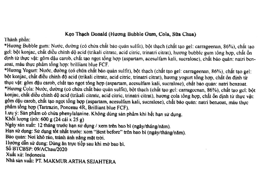 Kẹo thạch hương bubble gum, cola, sữa chua Donald hộp 600g 3