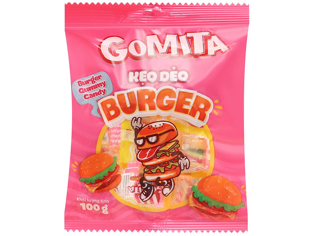 Kẹo dẻo Gomita burger gói 100g 1