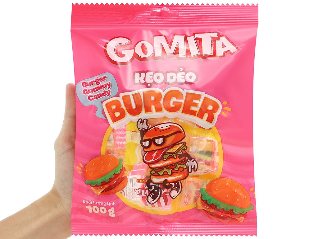 Kẹo dẻo Gomita burger gói 100g 4