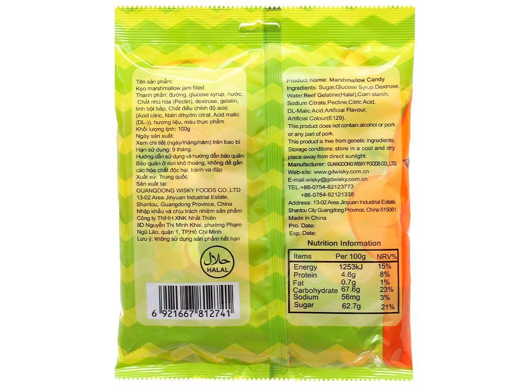 Kẹo marshmallow Wisichi Jam Filled gói 100g 8