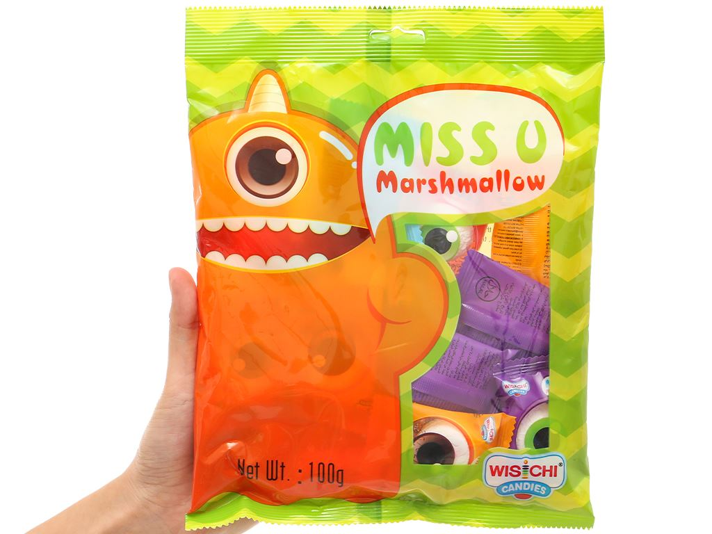 Kẹo marshmallow Wisichi Jam Filled gói 100g 11
