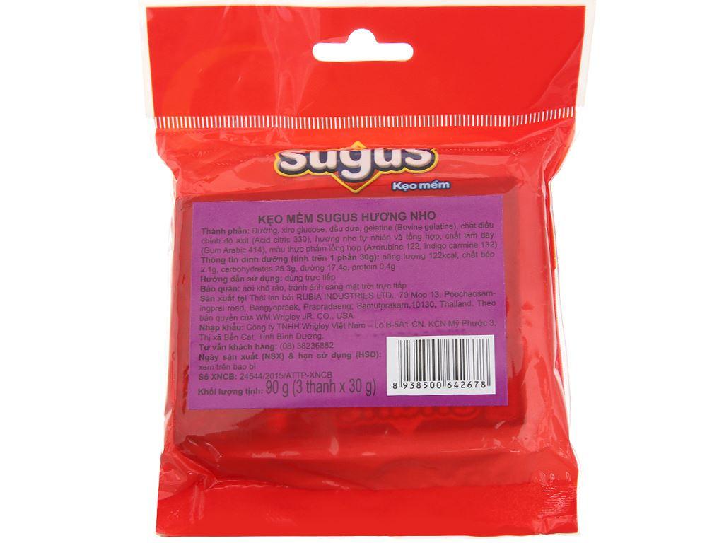 Kẹo mềm hương nho Sugus gói 90g (3 thanh) 2