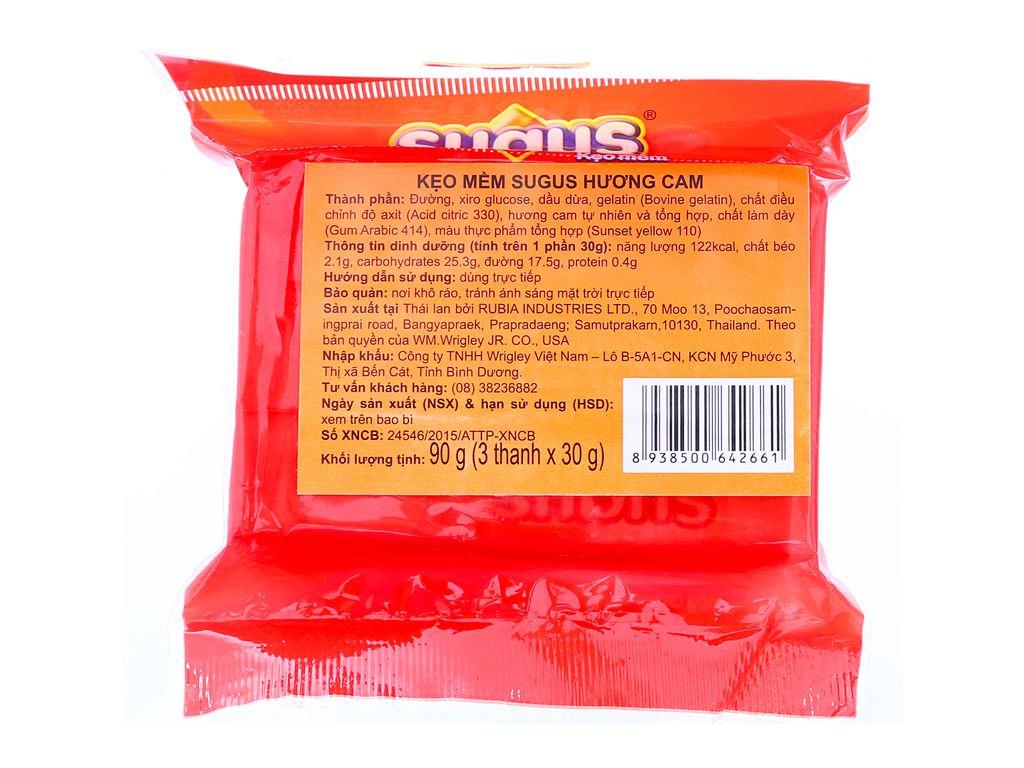 Kẹo mềm hương cam Sugus gói 90g (3 thanh) 3