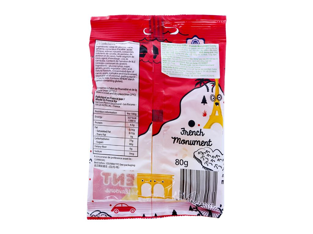 Kẹo dẻo hình tháp effel hương trái cây Pierrot gói 80g 3