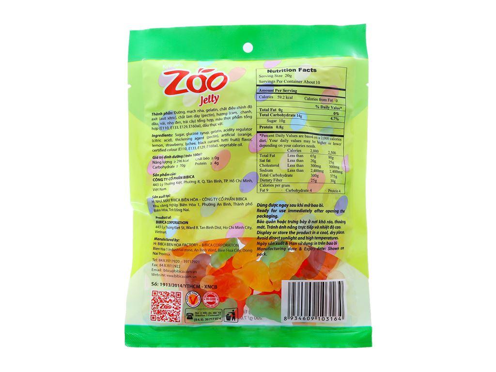 Kẹo dẻo hương trái cây Bibica Zoo Jelly gói 200g 2