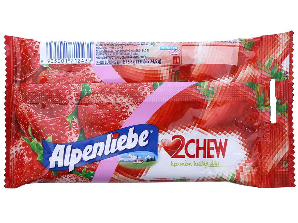Kẹo mềm hương dâu Alpenliebe 2Chew gói 73.5g (3 thanh) 2