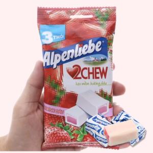 Kẹo mềm hương dâu Alpenliebe 2Chew gói 73.5g (3 thanh)