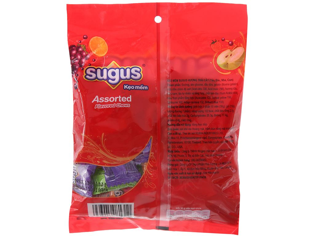 Kẹo mềm hương trái cây Sugus gói 210g 2