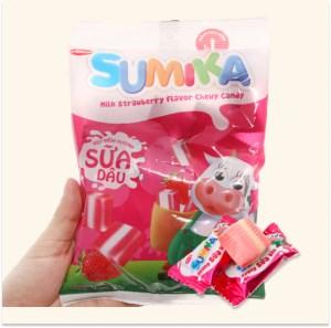 Kẹo mềm hương sữa dâu Sumika gói 140g