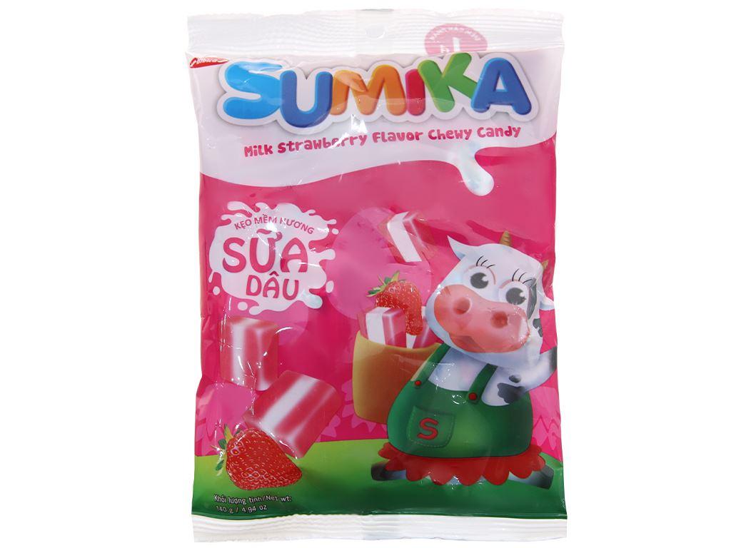 Kẹo mềm hương sữa dâu Sumika gói 140g 1