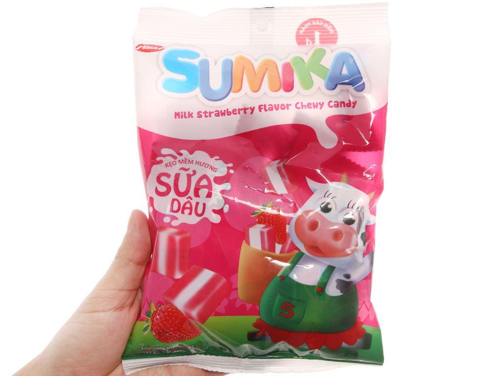 Kẹo mềm hương sữa dâu Sumika gói 140g 3