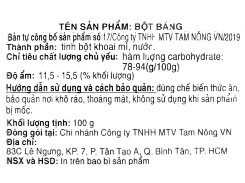 Bột báng Tam Nông gói 100g 3