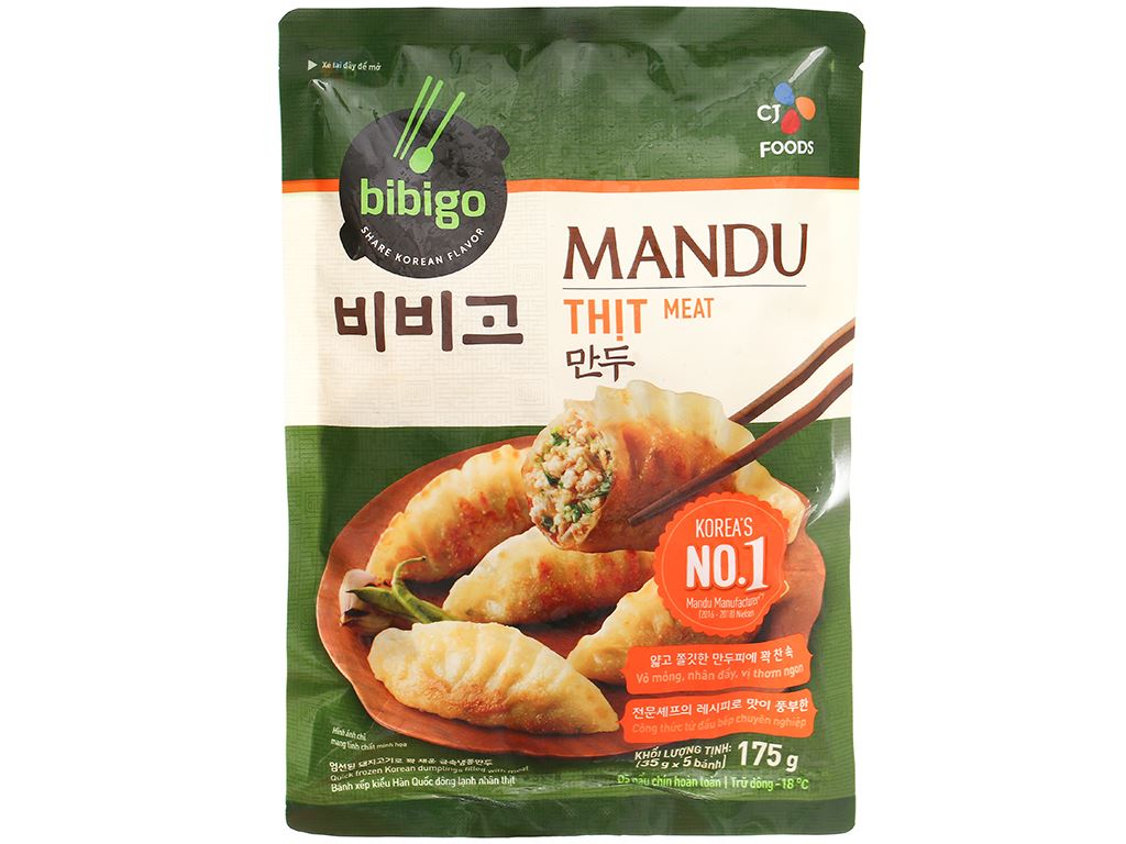 Bánh xếp Hàn Quốc nhân thịt Bibigo gói 175g 5