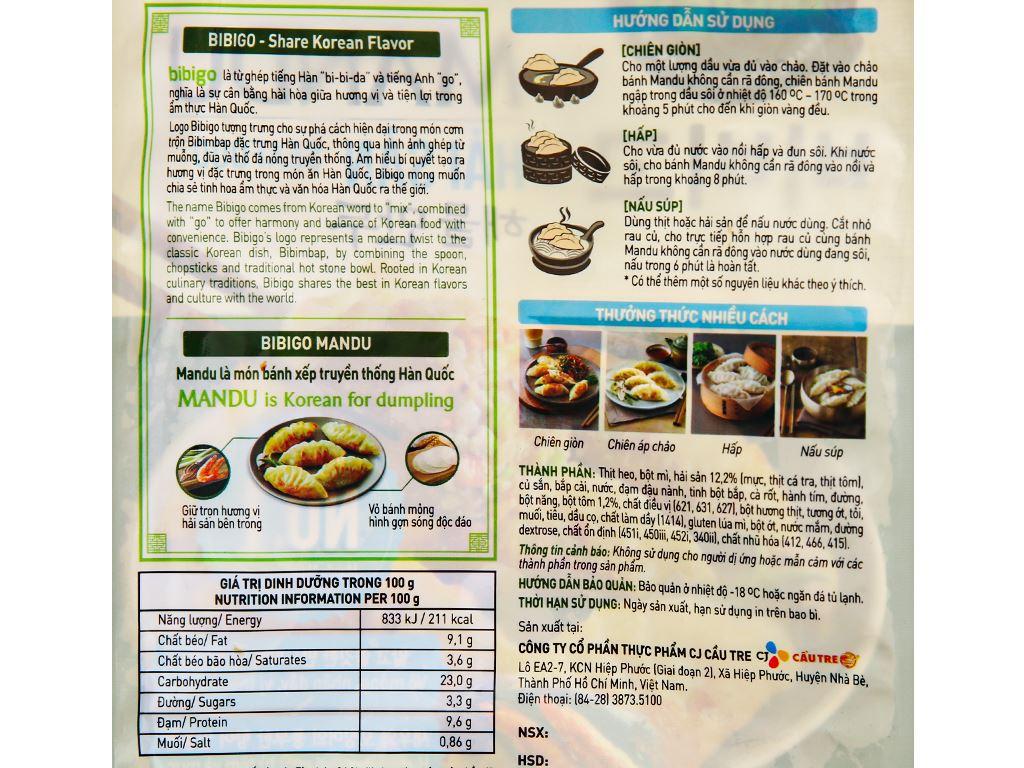 Bánh xếp Hàn Quốc nhân hải sản Bibigo gói 175g 3