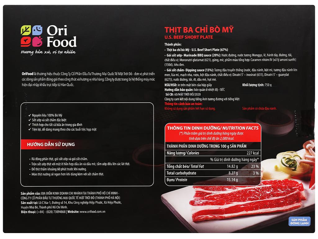 Ba chỉ bò Mỹ cắt lát nướng chấm sốt Orifood khay 750g 2