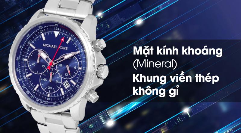 Đồng hồ nam Michael Kors MK8641 có mặt kính bền bỉ, khung viền chịu lực tốt