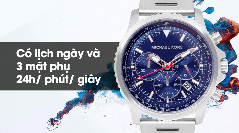 Đồng hồ nam Michael Kors MK8641 có lịch ngày và 3 mặt phụ cho thông tin về 24h, phút và giây