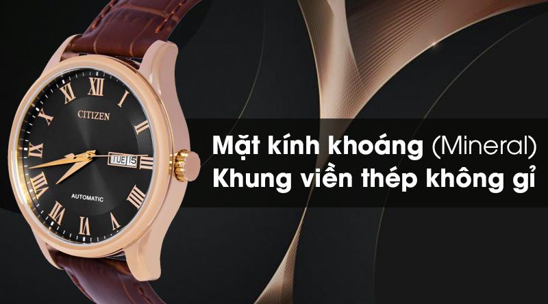 Đồng hồ Nam Citizen NH8363-14H - Cơ tự động có lớp vỏ chắc chắn