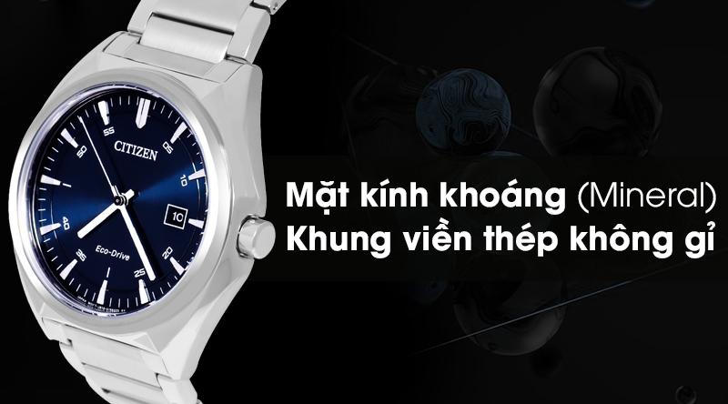 Đồng hồ Nam Citizen AW1570-87L có mặt kính chịu được va đập